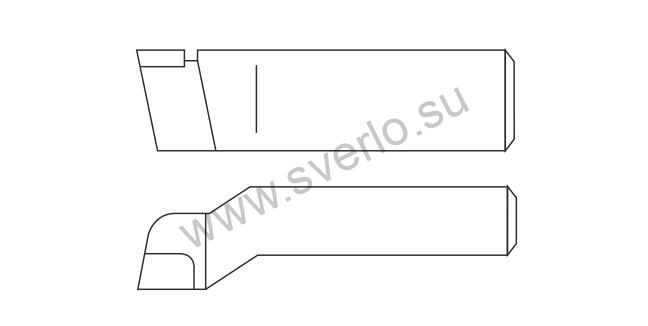 Резец проходной упорный изогнутый ВК8 20х12х125  (2103-0053)