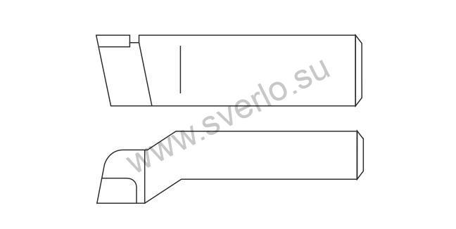 Резец проходной упорный изогнутый ВК8 32х20х170  (2103-0009)