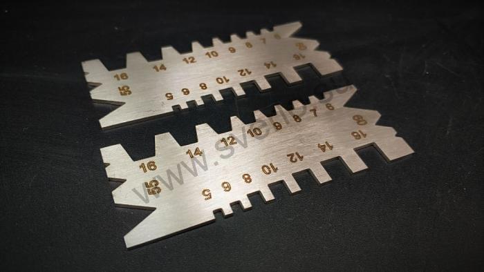 Шаблон контроля трапецеидальной 6-16, метрической, дюймовой, и ленточной резьбы 5-16 мм, нержавейка.